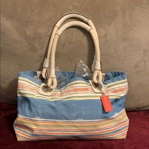 Coach beach multi stripe tote bag